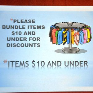 Please bundle items $10 and under for discount